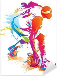 Vinilo Pixerstick Jugador de baloncesto. Ilustración vectorial