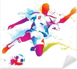 Vinilo Pixerstick Jugador de fútbol patea la pelota. La ilustración vectorial colorido