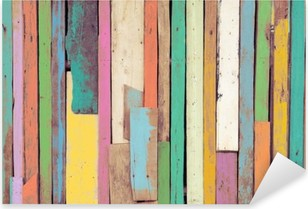 Vinilo Pixerstick La obra de arte colorido pintado en material de madera para papel tapiz de fondo de la vendimia.