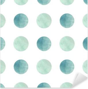 Vinilo Pixerstick La textura de la acuarela. Patrón sin fisuras. círculos de acuarela en colores pastel sobre fondo blanco. Los colores pastel y delicado diseño romántico. Modelo de lunar. Y Menta Fresca Colores.