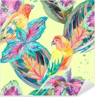Vinilo Pixerstick Los loros de la acuarela de flores y hojas .Tropical. Exótico.