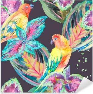 Vinilo Pixerstick Los loros de la acuarela de flores y hojas .Tropical.