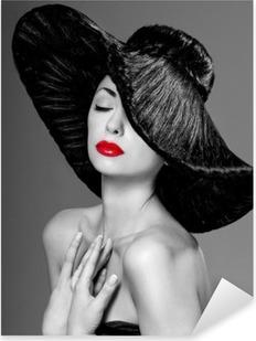Vinilo Pixerstick Magnífica mujer con un sombrero