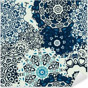 Vinilo Pixerstick Mandala de la flor azul de fondo de fisuras