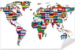 Vinilo Pixerstick Mapa del mundo con banderas