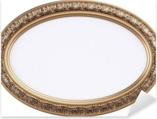 Vinilo Pixerstick Marco oval dorado o espejo aislado en blanco