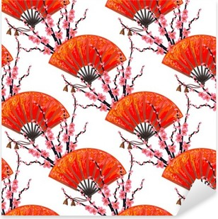 Vinilo Pixerstick Modelo de Japón sin fisuras con la mano fan japonés y cerezo sakura flor de vectores de fondo. Perfecto para fondos de escritorio, patrones de relleno, fondos de páginas web, texturas de la superficie, textil