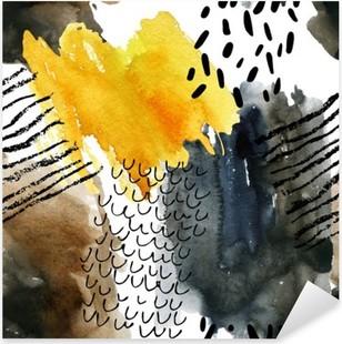 Vinilo Pixerstick Modelo inconsútil abstracto de la acuarela en colores del otoño.