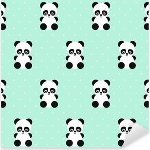 Vinilo Pixerstick Modelo inconsútil de Panda en lunares fondo verde. Diseño lindo para impresión en la ropa del bebé, textil, papel pintado, tela. Vector de fondo con la sonrisa de la panda animal del bebé. estilo de ilustración infantil.