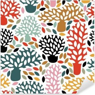 Vinilo Pixerstick Modelo inconsútil multicolor de vector con los árboles de bosquejo dibujado a mano. Resumen de fondo la naturaleza de otoño. Diseño para la tela, impresiones textiles caída, papel de embalaje.