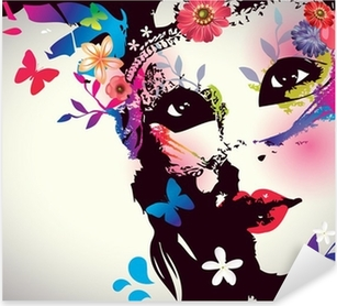 Vinilo Pixerstick Muchacha con la máscara / ilustración vectorial