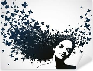 Vinilo Pixerstick Mujer con mariposas en el pelo.