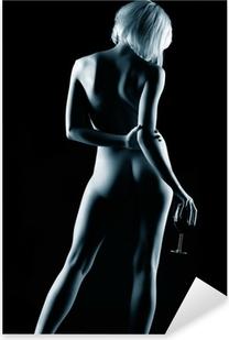 Vinilo Pixerstick Mujer desnuda y el vino