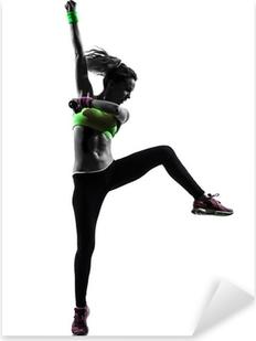 Vinilo Pixerstick Mujer en el ejercicio de fitness Zumba baile silueta