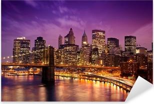 Vinilo Pixerstick Nueva York Manhattan Puente de Brooklyn