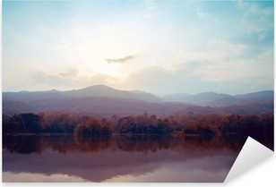 Vinilo Pixerstick Paisaje de montañas del lago en otoño - estilos de época.