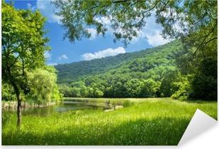 Vinilo Pixerstick Paisaje de verano con el río y el cielo azul