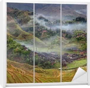 Casas Rurales En Las Tierras Altas De China Tierra De Cultivo Las Terrazas De Arroz