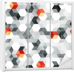 Vinilo para Armario Cubos abstractos sin fisuras patrón con efecto grunge