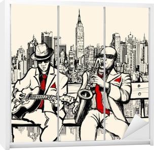 Vinilo para Armario Dos hombres de jazz tocando en Nueva York