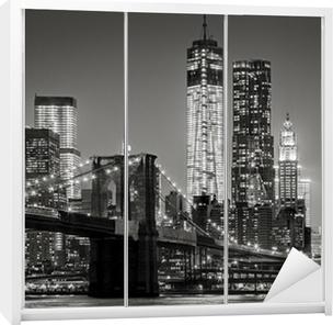 Vinilo para Armario Nueva York por la noche. Puente de Brooklyn, Bajo Manhattan - un Negro