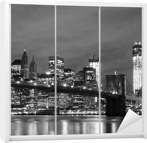 Vinilo para Armario Puente de Brooklyn y Manhattan horizonte en la noche, New York City