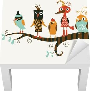 Vinilo para Mesa Lack Cinco aves divertidos