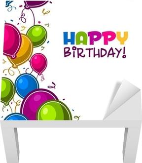 Vinilo para Mesa Lack Feliz cumpleaños con globos