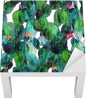 Vinilo para Mesa Lack Patrón de cactus en el estilo de la acuarela