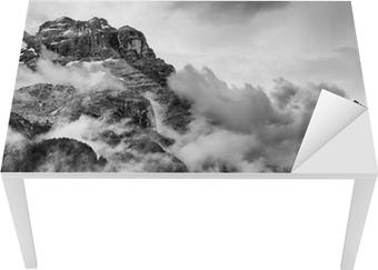 Vinilo para Mesa y Escritorio Dolomitas Montañas Blanco y Negro