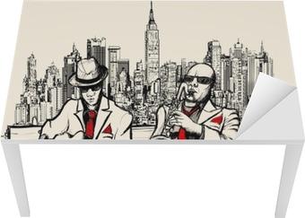 Vinilo para Mesa y Escritorio Dos hombres de jazz tocando en Nueva York