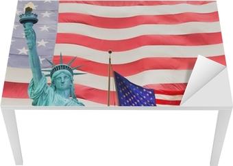 Vinilo Pixerstick Estatua de la Libertad y la bandera de Estados ...
