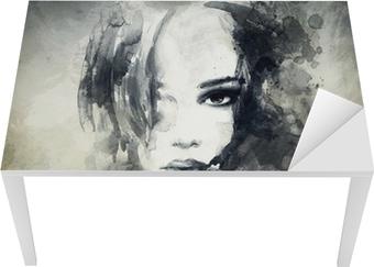 Vinilo para Mesa y Escritorio Retrato de mujer abstracta
