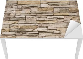 Vinilo para Mesa y Escritorio Stacked muro de piedra de fondo horizontal