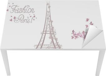 Vinilo para Mesa y Escritorio Zapatos de tacón alto en el fondo de la Torre Eiffel. La moda de París