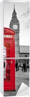 Vinilo para Nevera Cabina de teléfono roja en Londres con el Big Ben en blanco y negro