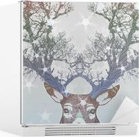 Vinilo para Nevera Congelado árbol cuerno de ciervo
