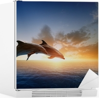 Vinilo para Nevera Delfines saltando