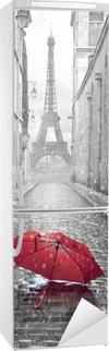Vinilo para Nevera Eiffel torre vista desde la calle de París