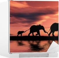 Vinilo para Nevera Familia de los elefantes