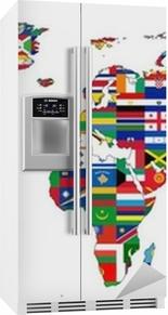 Vinilo para Nevera Mapa del mundo con banderas