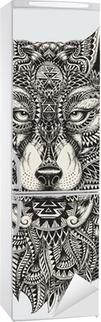 Vinilo para Nevera Muy detallada lobo ilustración abstracta