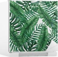Vinilo para Nevera Palmera tropical de la acuarela deja patrón transparente. Ilustración del vector.
