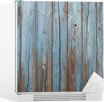 Vinilo para Nevera Vieja pared de madera azul