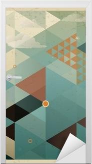 Vinilo para Puerta Abstract Background Retro Geometric con nubes