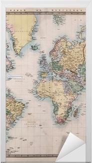 Vinilo para Puerta Antiguo Mapa del mundo antiguo en Mercators Proyección