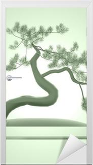 Vinilo para Puerta Árbol bonsai de Asia en verde