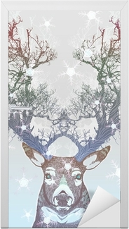 Vinilo para Puerta Congelado árbol cuerno de ciervo