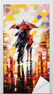Vinilo para Puerta Dos enamorados bajo un paraguas