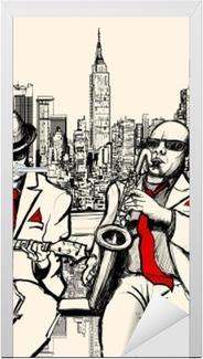 Vinilo para Puerta Dos hombres de jazz tocando en Nueva York